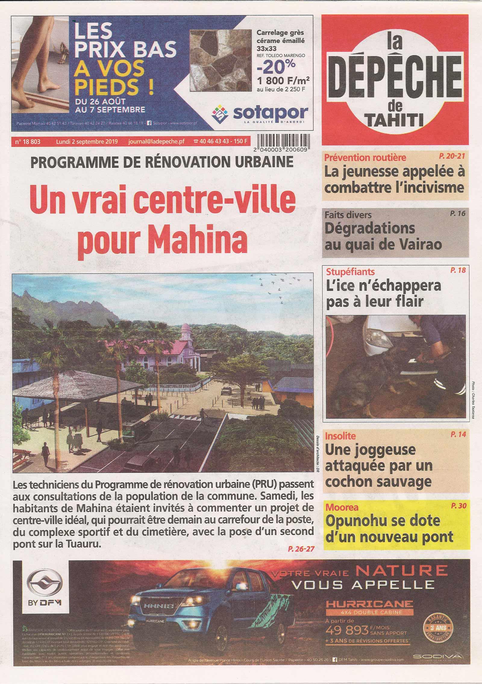 Article de la Dépêche de Tahiti sur le projet de Città Urbanisme et Paysage.