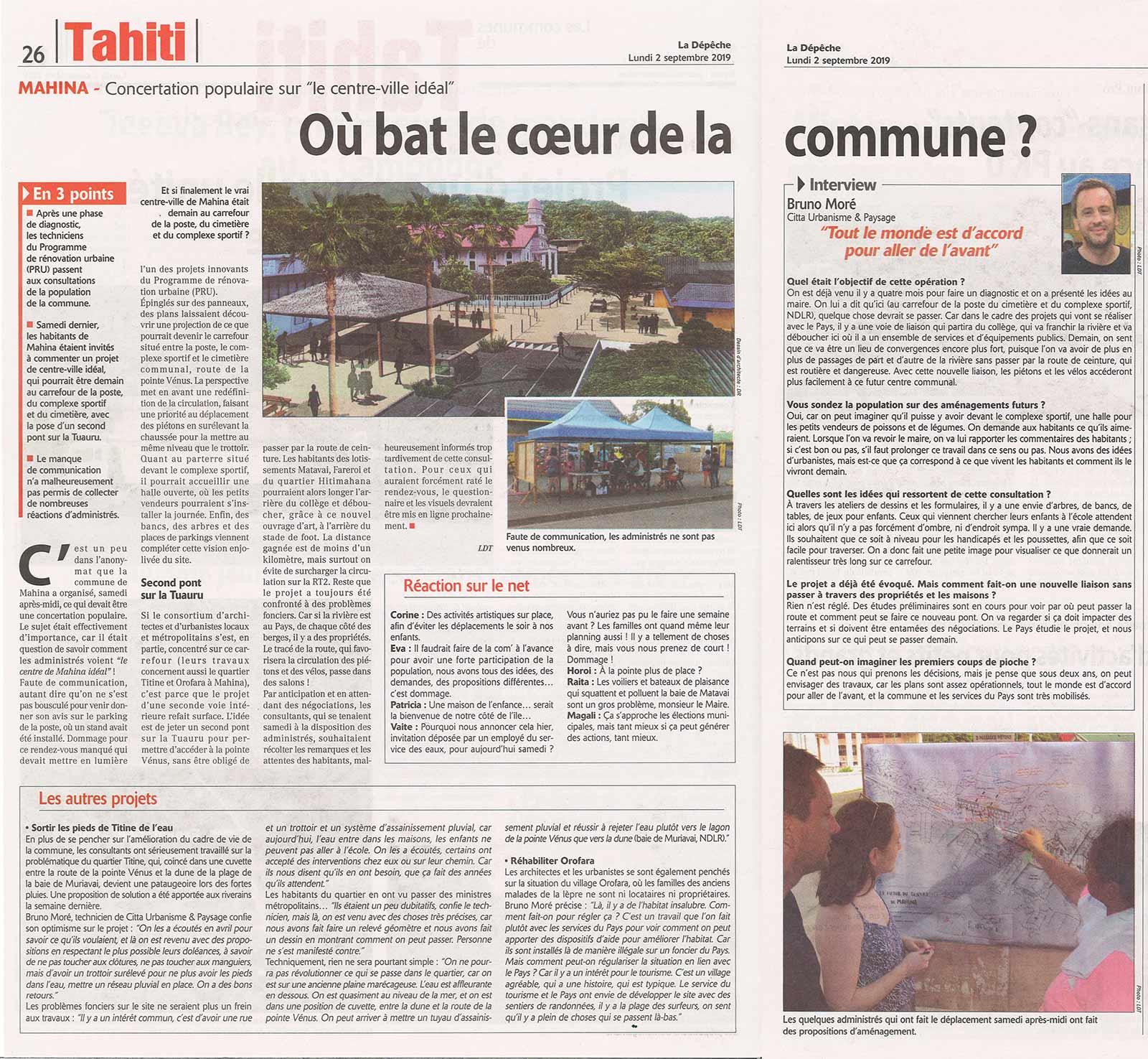 Article sur les 2 projets de Città Urbanisme et Paysage à Tahiti.