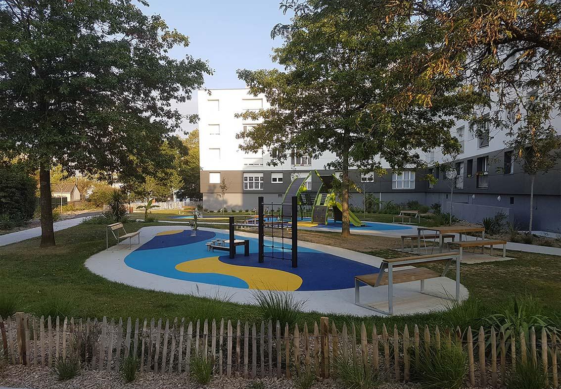 Aire de jeux, quartier Bellevue à Nantes - Città urbanisme & paysage.