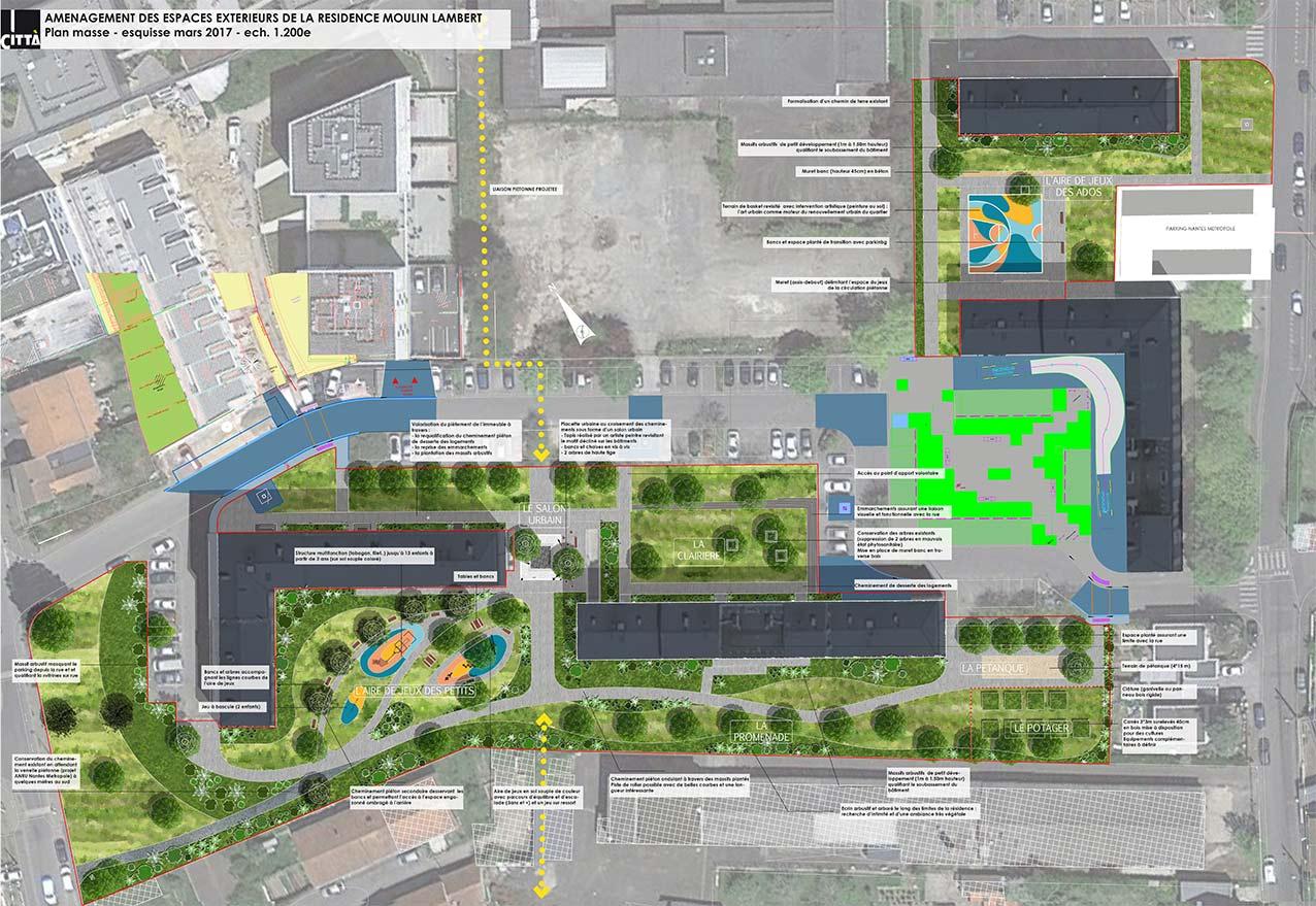 Aménagement urbain à Nantes - plan. Città urbanisme et Paysage.