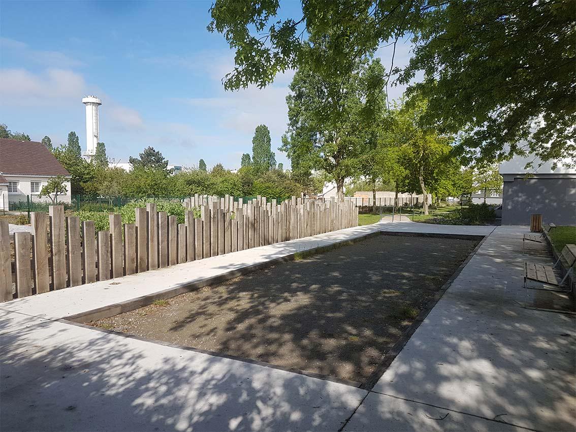 Terrain de pétanque créé quartier Bellevue par Città urbanisme & paysage.